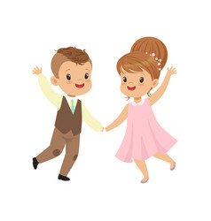 cute little boy and girl dancing in retro elegant vector image