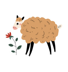 Cute sheep farm animal and flower agriculture vector