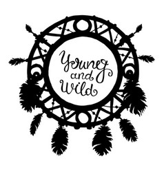 dream catcher silhouette with feathers and beads vector image