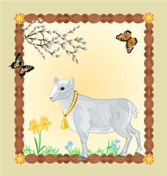 Easter Lamb with butterflies and Pussycats vector
