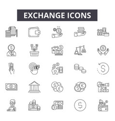 exchange line icons for web and mobile design vector image