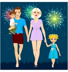 Family enjoying firework display vector image