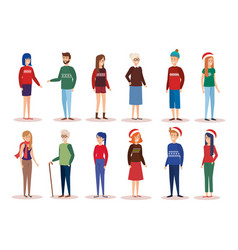 family parents with december clothes vector image