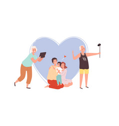 family photo grandparents making image with phone vector image