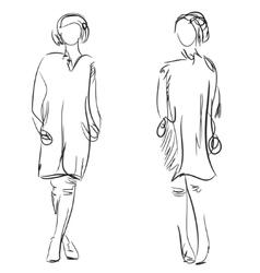 Fashion girls sketch vector image