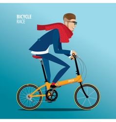 Fashionable man rides on a folding bike vector