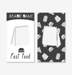 fast food business cards vector image
