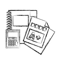 figure notebook and calculator object with vector image vector image