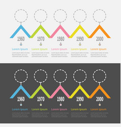 five step timeline infographic set dash line vector image