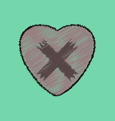 Flat shading style icon heart plaster icon vector