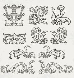 Floral style design elements vector