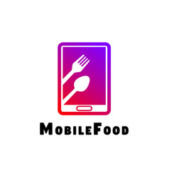 Food logo online with mobile concept vector