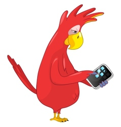 Funny Parrot Tablet User vector image