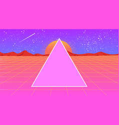 futuristic landscape 1980s style with a triangle vector image