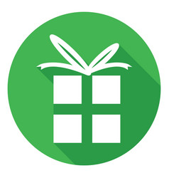 gift icon flat design style with long shadow vector image