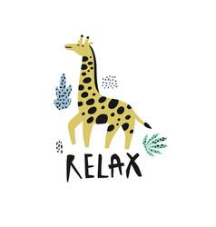 giraffe flat hand drawn character vector image