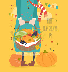 Girl holding basket with vegetables vector