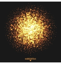 Golden shimmer glowing heart particles vector