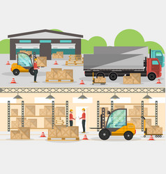 Goods distribution business banner in flat design vector