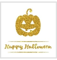 Halloween gold textured pumpkin icon vector image