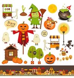 Halloween symbols on white vector