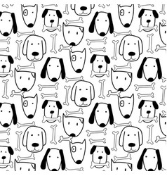 Hand drawn cute dog and bone pattern vector