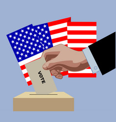 hand putting voting paper in ballot box on vector image