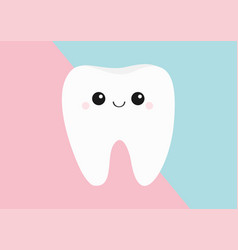 healthy tooth icon cute kawaii face with eyes and vector image