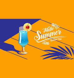 hello summer template design tropical amp vector image
