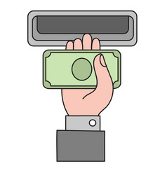 human hand with dollar banknote to a cash vector image