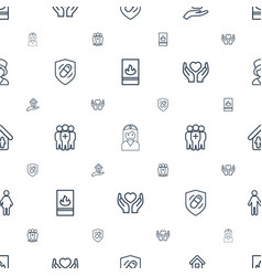 insurance icons pattern seamless white background vector image