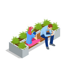 isometric eco modern street bench for web vector image