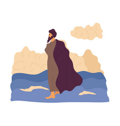 Jesus walking on water vector