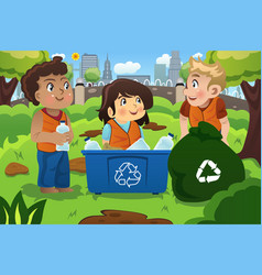 kids recycles bottles vector image