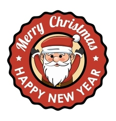 Label merry christmas happy new year happy santa vector