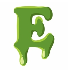 Letter E made of green slime vector