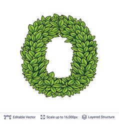 Letter o symbol of green leaves vector