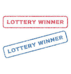 Lottery winner textile stamps vector