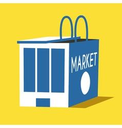 Market and shopping bag flat vector