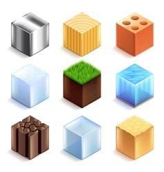 Materials and textures cubes icons set vector image
