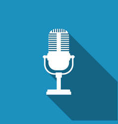 microphone icon isolated with long shadow vector image