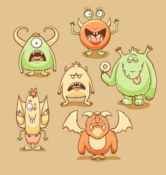 monsters cartoon set vector image