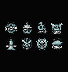 nautical theme set logos or labels marine vector image