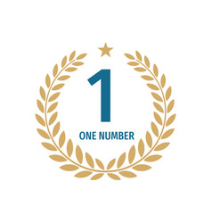 number one badge logo design with a laurel wreath vector image