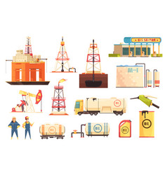 oii production industry icons set vector image