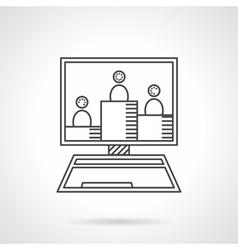 Online seminar flat line icon vector