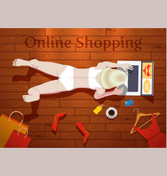 Online shopping at home vector