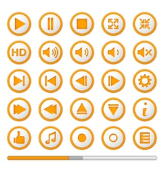 Orange Media Player Buttons vector