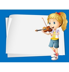 Paper design with girl playing violin vector