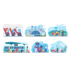 People travel plane bus set sitting vector